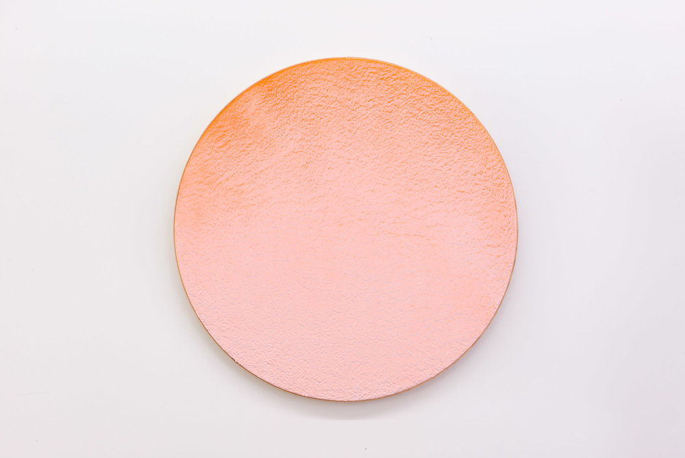 "Pierre Julien,  In the Deepest Oceans  - C002, 2018, stucco, acrylic and spray paint on wood panel, 30"" diameter (76 cm)"
