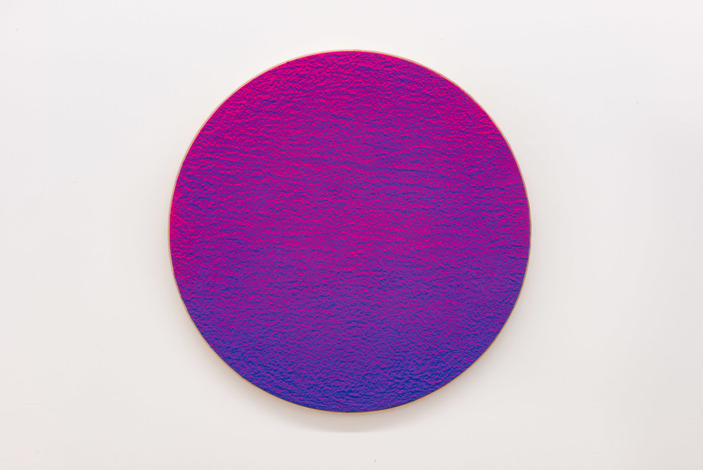 "Pierre Julien,  In the Deepest Oceans  - C001, 2018, stucco, acrylic and spray paint on wood panel, 30"" diameter (76 cm)"