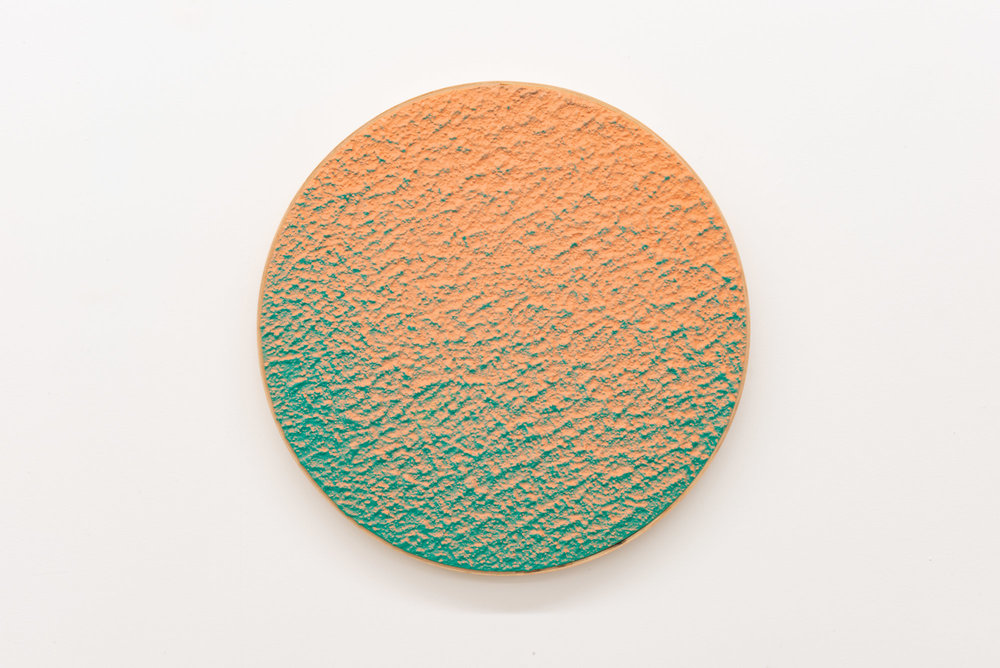 "Pierre Julien,  In the Deepest Oceans  - B012, 2018, stucco, acrylic and spray paint on wood panel, 16"" diameter (41 cm)"