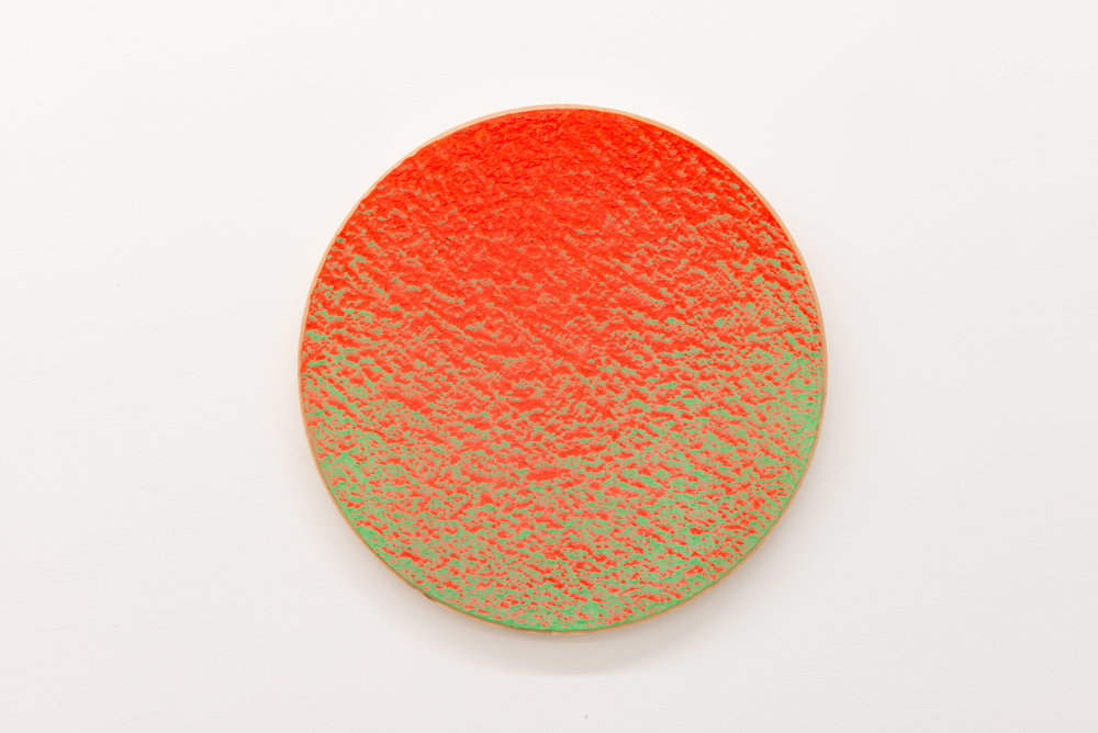 "Pierre Julien,  In the Deepest Oceans  - B009, 2018, stucco, acrylic and spray paint on wood panel, 16"" diameter (41 cm)"