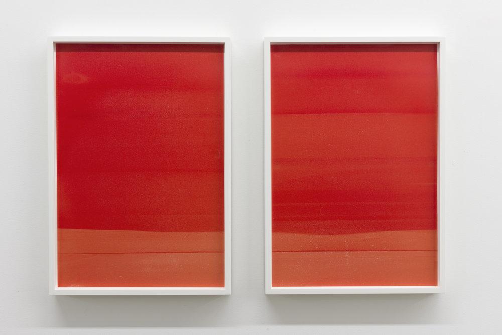 "Jim Verburg,  Red (Landscape #1 and #2) , 2014, oil on mylar, 17.5"" x 12"" (43 x 31 cm) each"