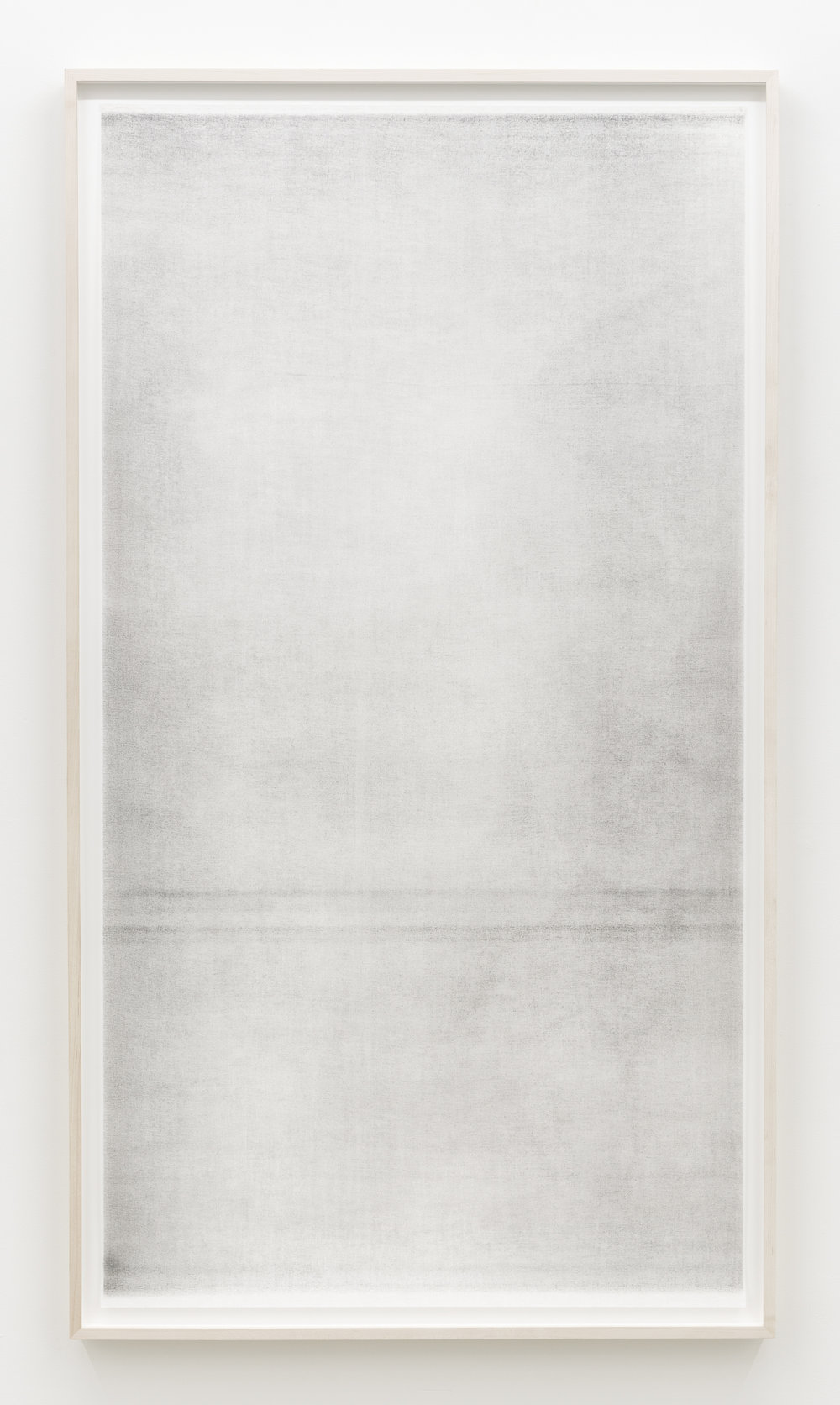 "Untitled (when it settles #4 from the series A Certain Silence), 2017, oil, graphite and charcoal on tarlatan, 59 X 35"" (150 X 89 cm)"