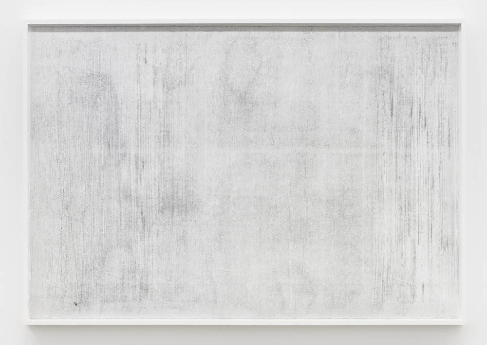 "Untitled (where it becomes clear #1), 2018, oil, graphite and charcoal on tarlatan, 41 X 59"" (102 X 147 cm)"