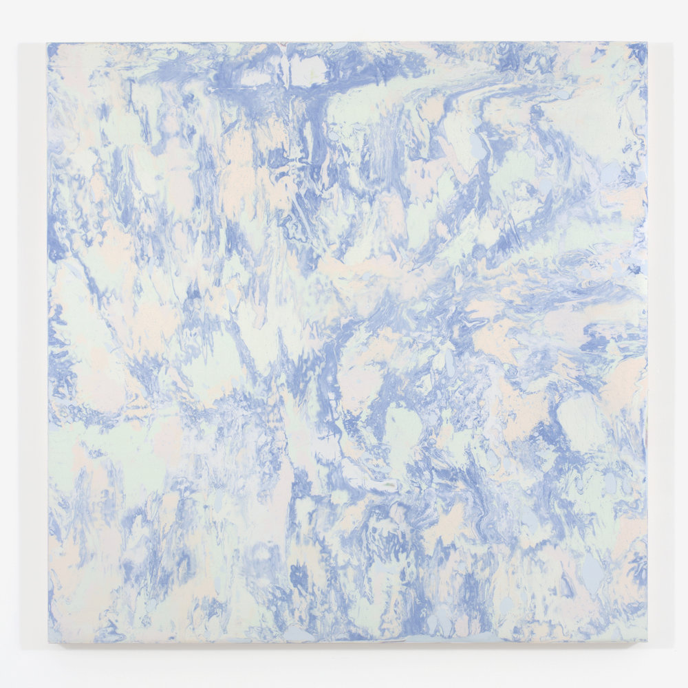 """Blue Marble, 2015, plaster and acrylique on wood, 48 X 48"""" ( 122 X 122 cm)"""
