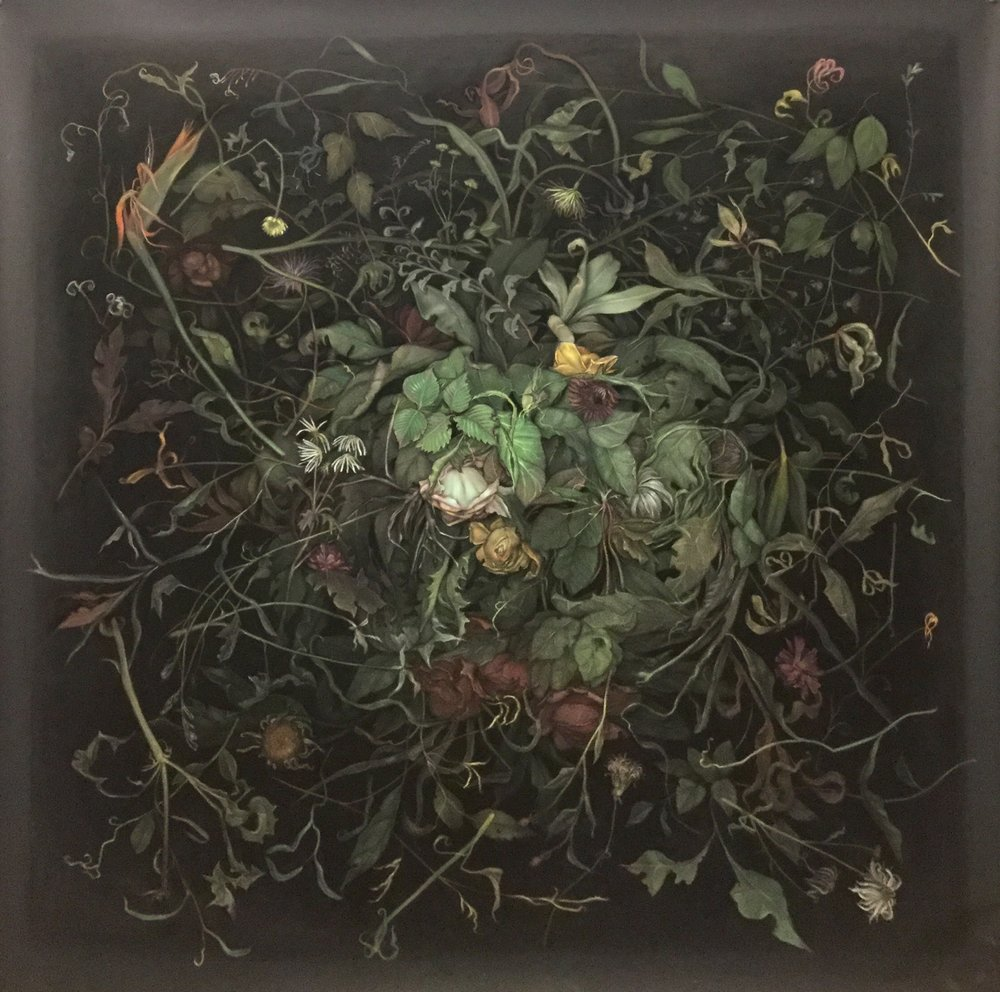 "Zachari Logan,  Dead Flowers I , from the  Pool  series ,  2018, pastel on black paper, 59"" x 60"" (150 x 152 cm)"