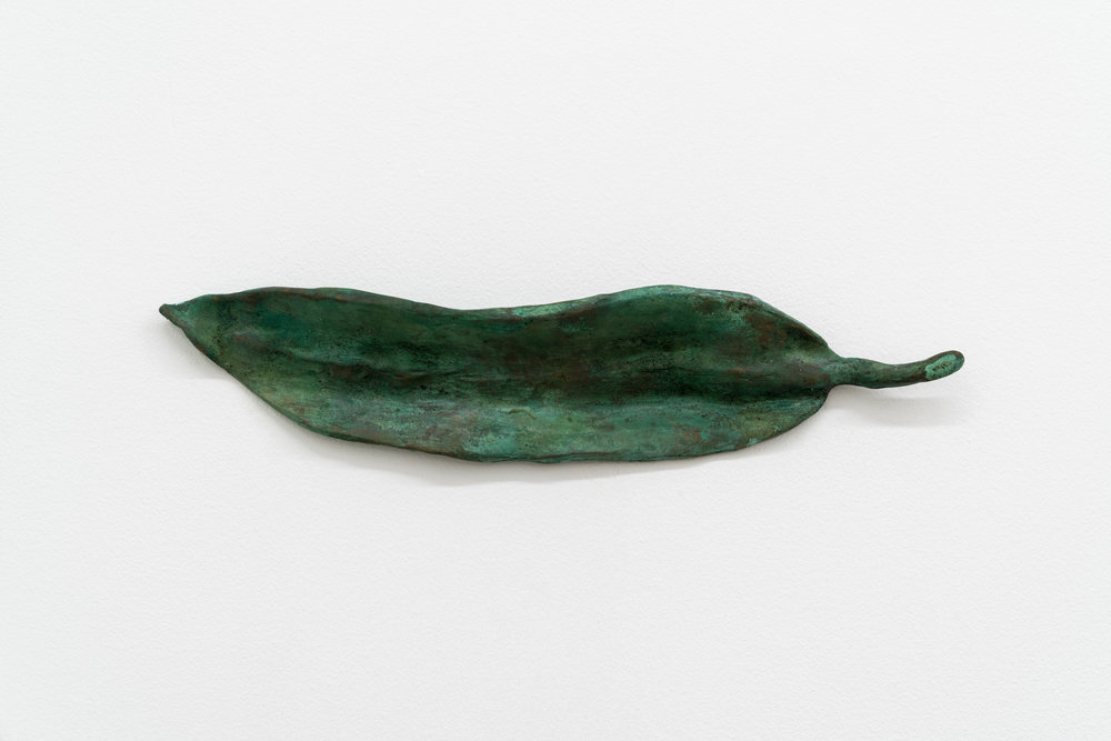 "Lorna Bauer,  Blue Fountain Bamboo Leaves , 2016, bronze, 11.5"" x 2.5"" (29 x 6 cm)"