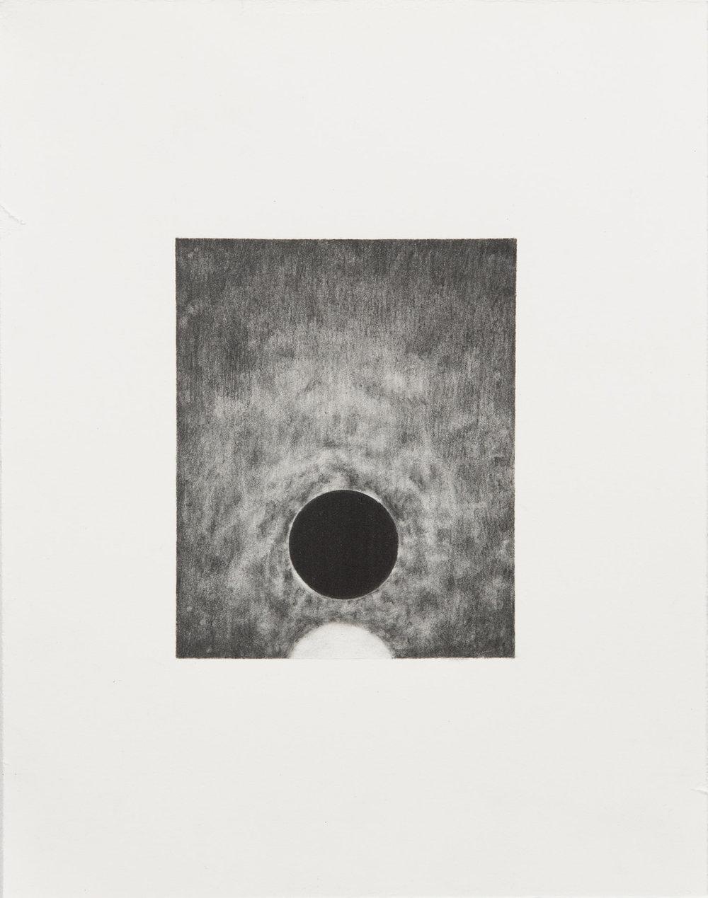 "Carl Trahan,  O   3,  2018, graphite on paper, 5"" x 4"" (12 x 10 cm)"