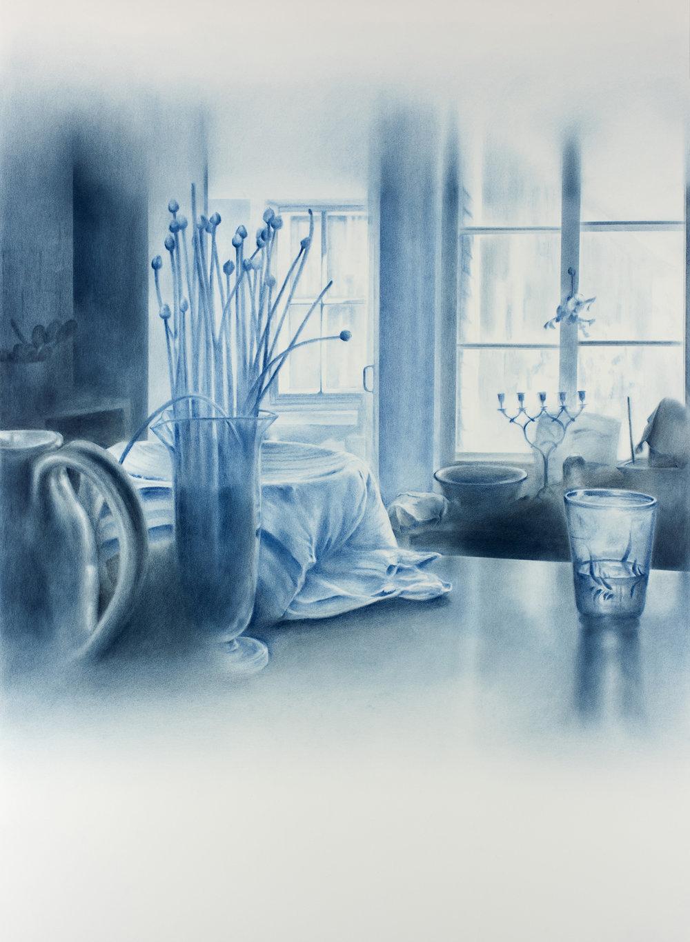 """Andréanne Godin,  Mémoire de rhubarbe et d'angélique, de la série 207 rang de l'Embarras , 2018, dry pigments on Arches paper, 45"""" x 31"""" (114 x 79 cm)"""