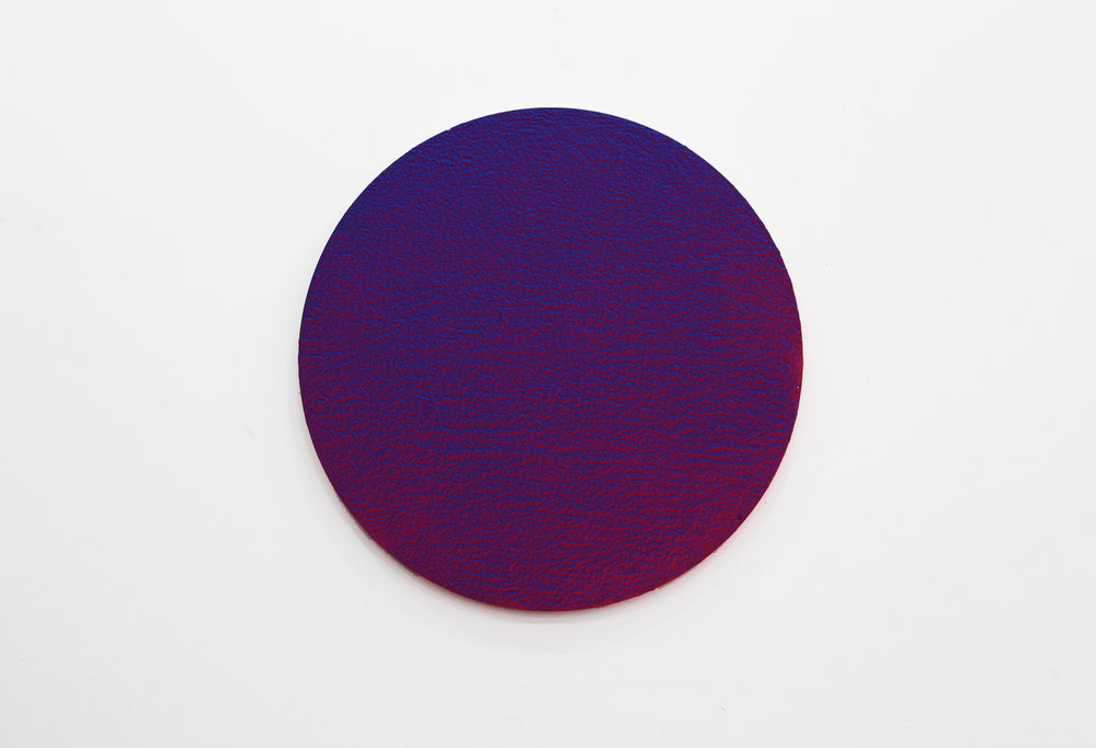 "Pierre Julien,  In the Deepest Oceans - C001 , 2018, stucco, acrylic and spray paint on wood panel, 30"" (76 cm) of diameter"