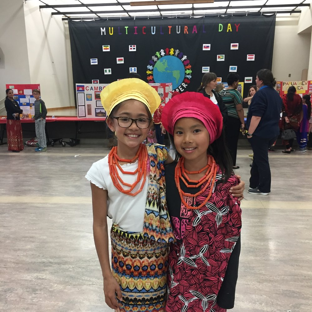 Third grade students enjoying Sandpiper School's Multicultural Day.