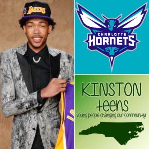 Brandon Ingram, Kinston Teens and Charlotte Hornets logos