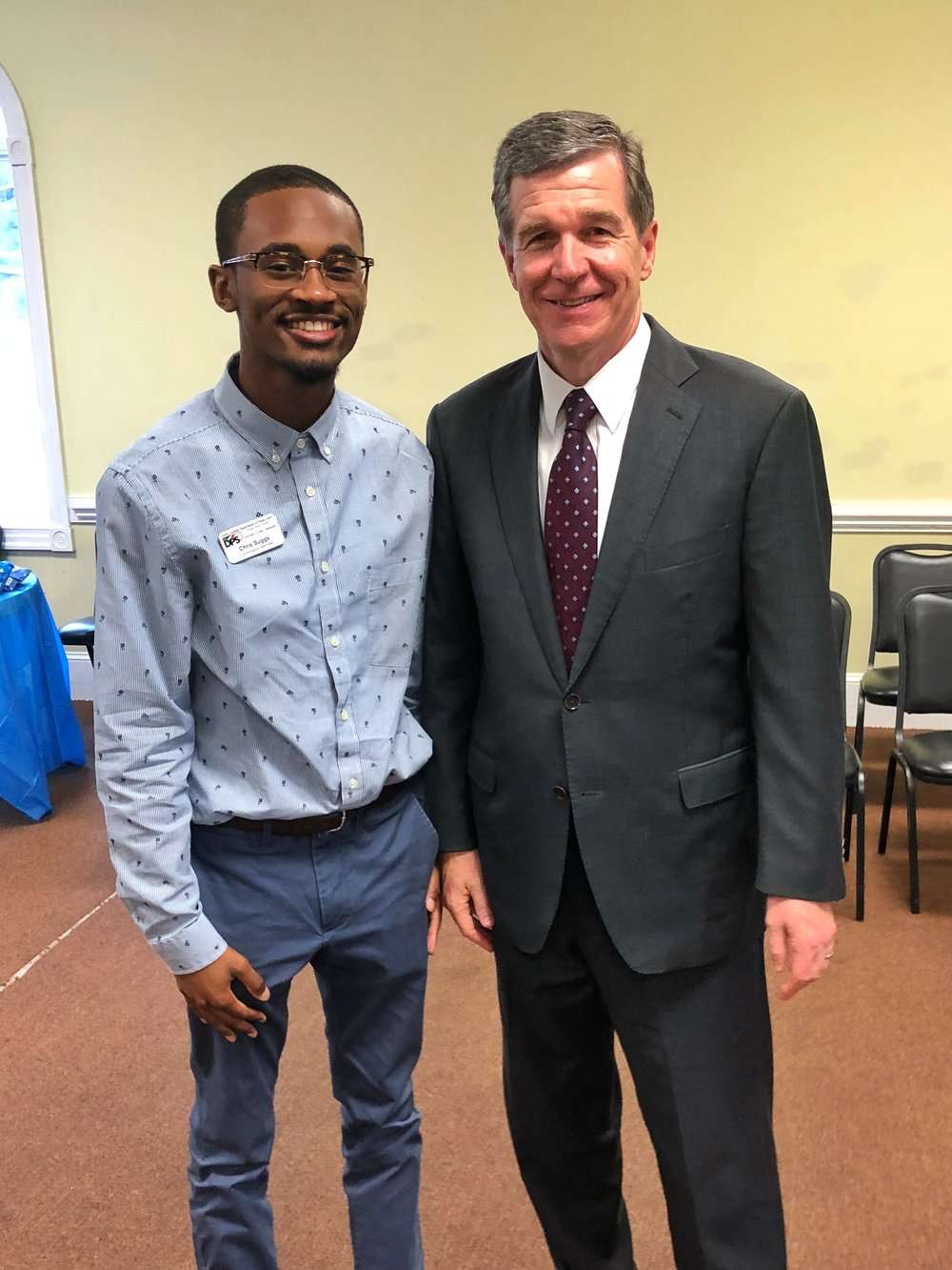 Suggs and Governor Roy Cooper at an event in Snow Hill, North Carolina on August 14.