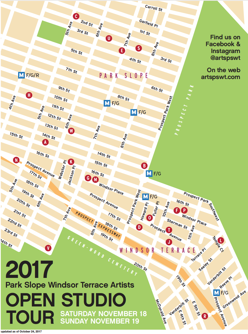 Open Studios Map PARK SLOPE WINDSOR TERRACE ARTISTS - Us open grounds map 2017