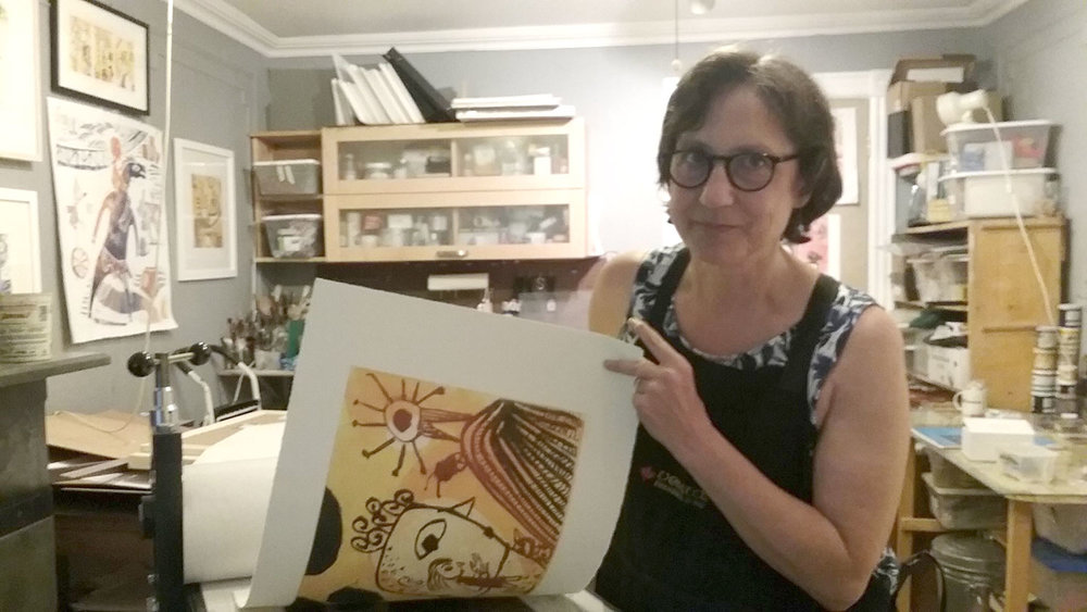 Nancy Doniger at her etching press.