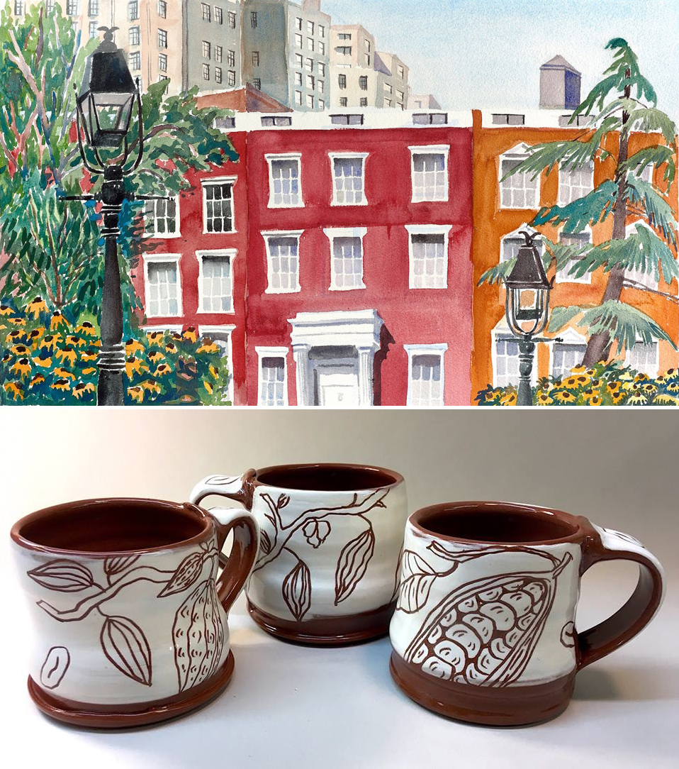 Susan Greenstein, watercolor (top) and Caryn Kreitzer, ceramics (bottom)