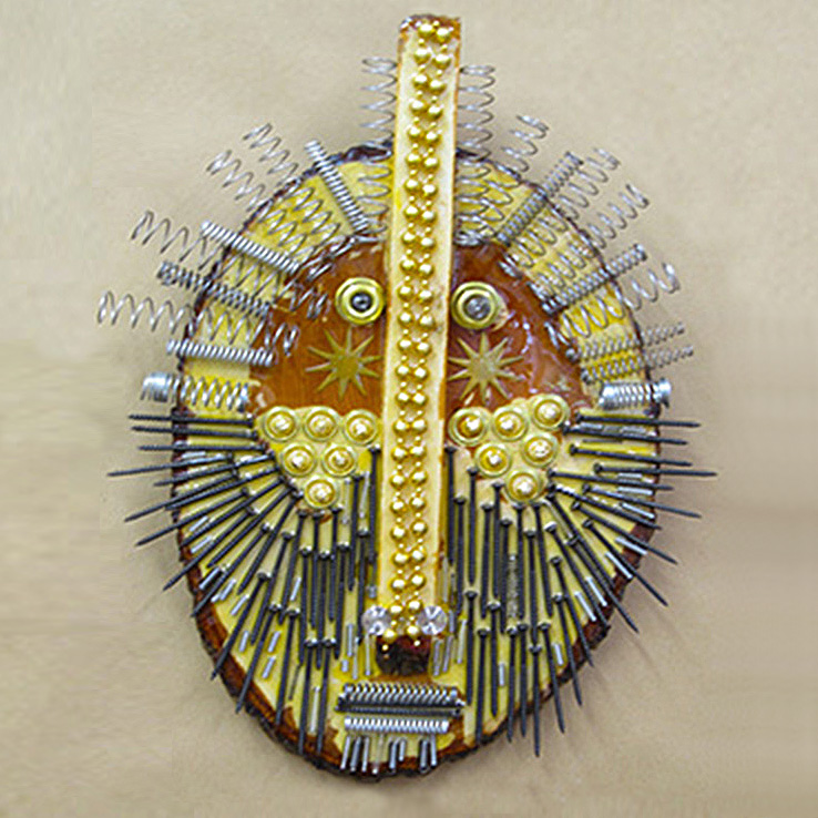 "Say hello to ""Coil Head"" mixed-media assemblage from Bernette Rudolph."