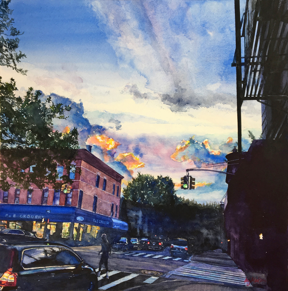 Joy Makon's painting of a very familiar Windsor Terrace intersection, is on view at 440 Gallery