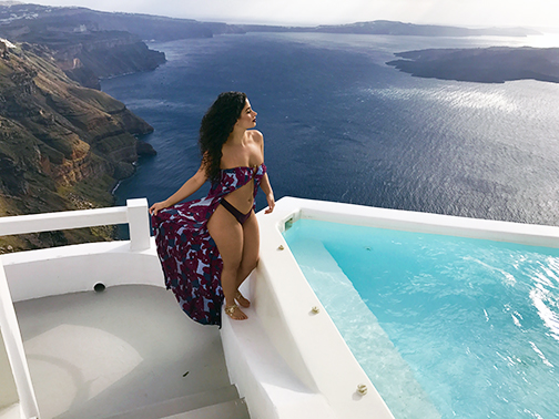 - Enjoying three days at Santorini overlooking the Aegean Sea! What a glorious view!