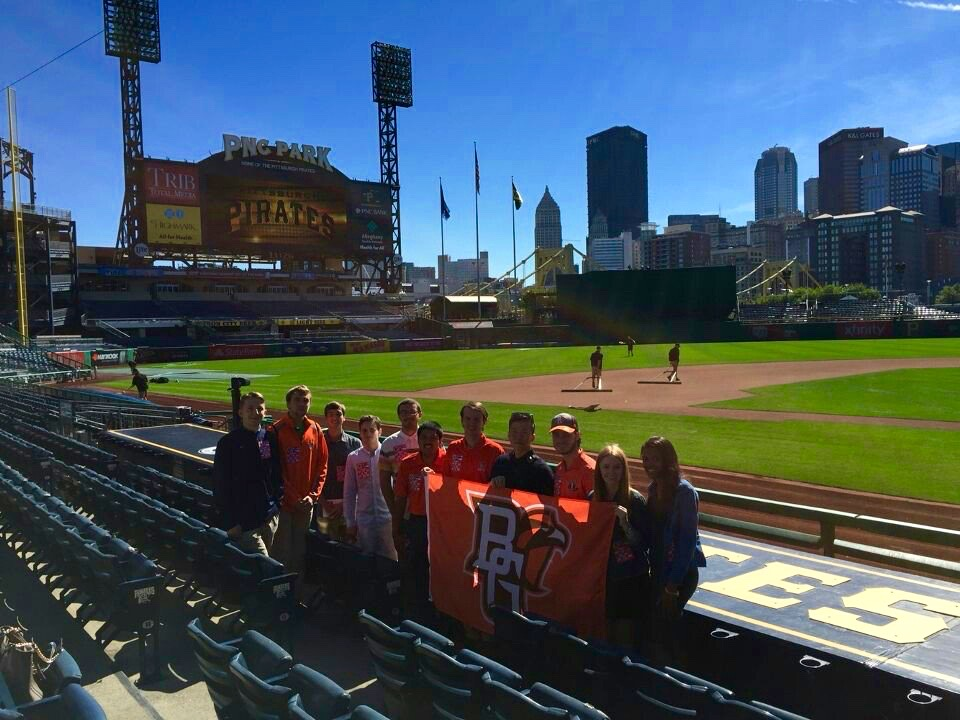 Pittsburgh, PA - The 2016 Spring Trip took a group of students to Pittsburgh, Pennsylvania. In Pittsburgh members met with front office staff of the Pittsburgh Pirates and got to watch the game while getting to know each other over hotdogs.