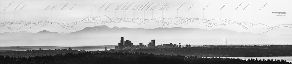 Olympic Mountains over Seattle - Monochrome