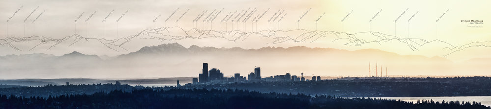 Olympics over Seattle - Version 1