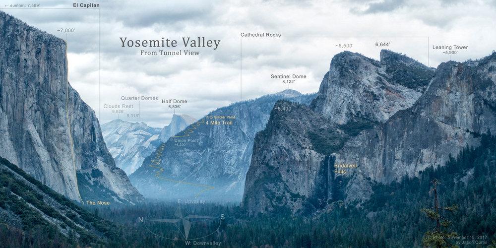 Yosemite - Peak maps & photos