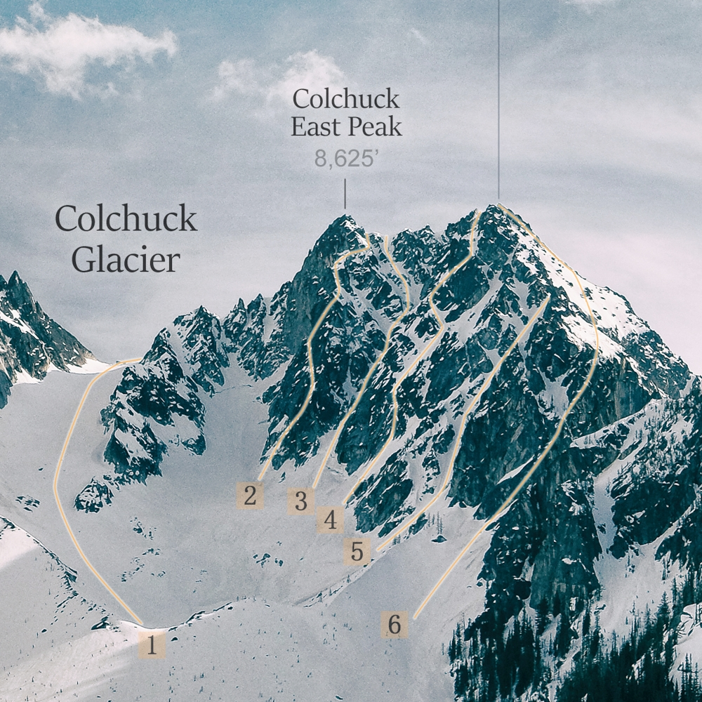 Close-up of route identification on Colchuck Peak