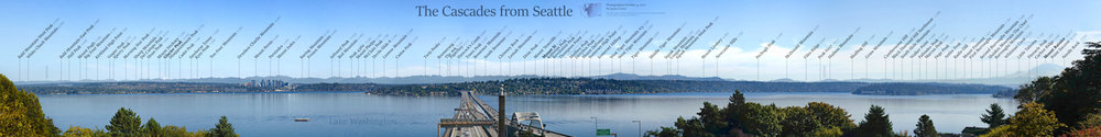 Full-width continuous panorama of the Cascades as viewed from Seattle