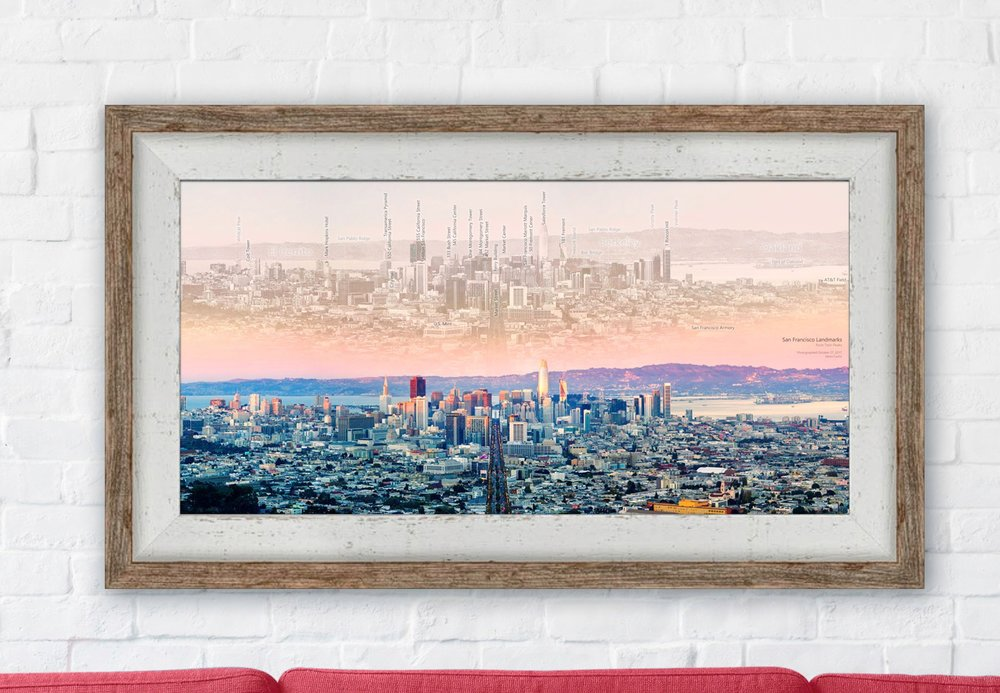 San Francisco Market Street in recycled barnwood frame. This is a mock-up - your barnwood frame will look different.