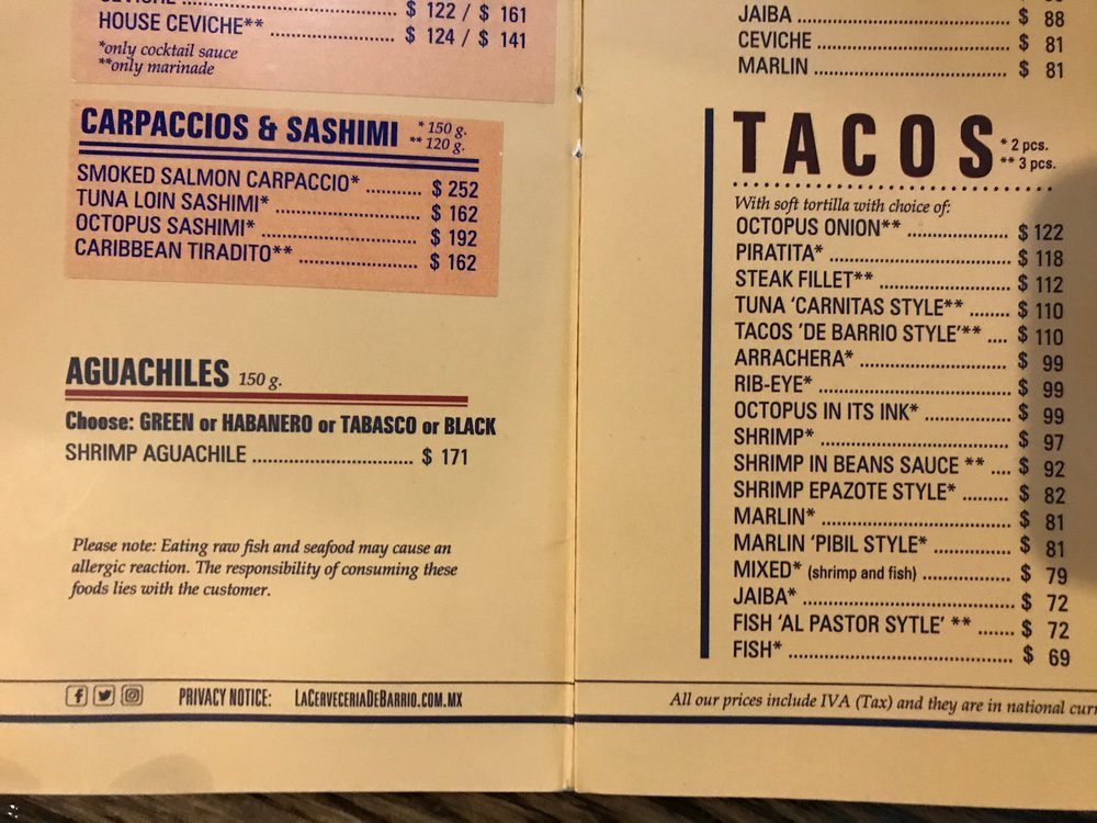 Nothing special… A 'normal' menu from a corner, open air hangout La Cerveceria Barrio in Condesa (meaning the Neighborhood Brewery. The peso is around 20:1 to the $US currently).