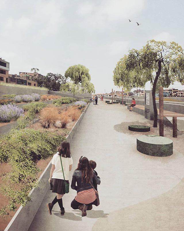 Propuesta de espacios públicos coherentes con el entorno urbano y paisaje.  Autores: Hannah Klug (US), Walter Soto (UNFV), Marcial Silva (PUCP), Kiara Wong (UL). #architecture #design #urbandesign #urbanregeneration #riverside #publicspace #urbanism #landscaping #parquefluvialrímac