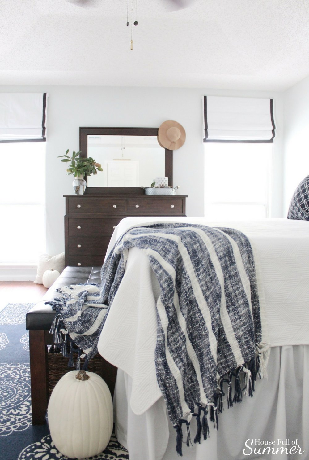 House Full of Summer: Fall Home Tour Blog Hop - Cozy, Coastal, Chic  Master Bedroom decor,  decorating on a budget, fall decor ideas, coastal bedroom ideas, tray styling, diy fall decor, roman shades, pottery barn style, blue and white bedroom decor, navy and white, navy rug, indoor/outdoor area rug, fall styling, nautical decor
