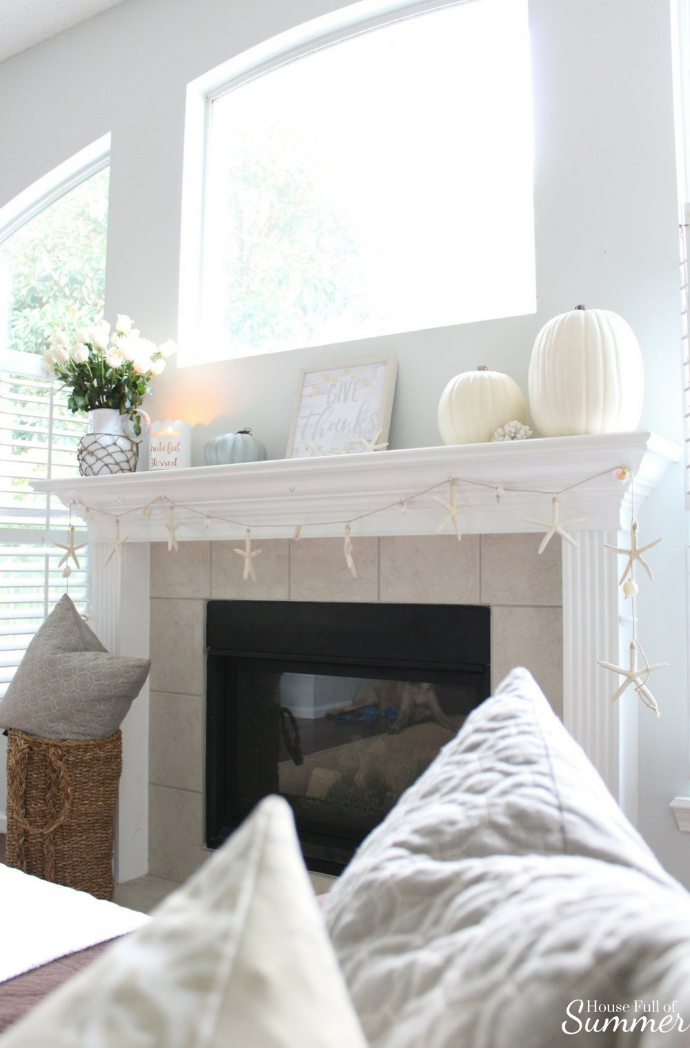 House Full of Summer: Fall Home Tour Blog Hop - Cozy, Coastal, Chic  Family Room or Living Room fall decorating ideas, fireplace, neutral interior, white pumpkins,  fall mantel ideas, starfish garland,  natural decor