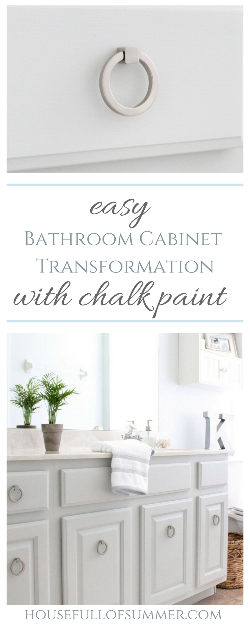 House Full of Summer - Easy Bathroom Cabinet Transformation with Chalk Paint - bathroom makeover, bathroom diy, chalk painting tips, top coat tips, how to keep painted cabinets from chipping or scratching, budget friendly home upgrades, before and after home