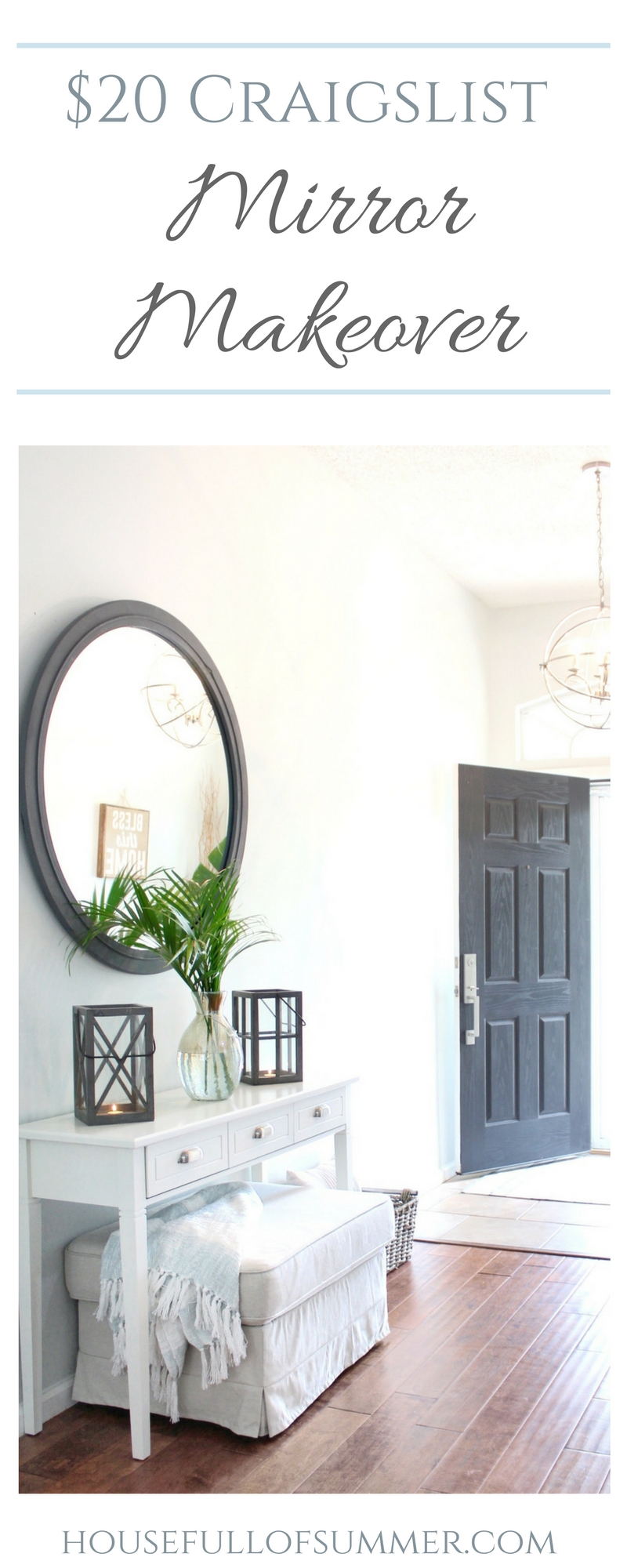 $20 Craigslist Mirror Makeover - House Full of Summer on the blog. DIY, home decor ideas, chalk paint, decorating on a budget, coastal interior