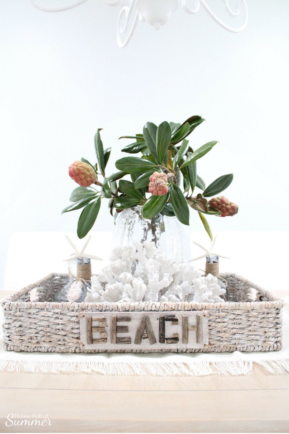 House Full of Summer: Fall Home Tour Blog Hop - Cozy, Coastal, Chic  Dining Room, pottery barn style, beachy decor, coral, starfish, magnolia leaves, tray styling ideas, table decor