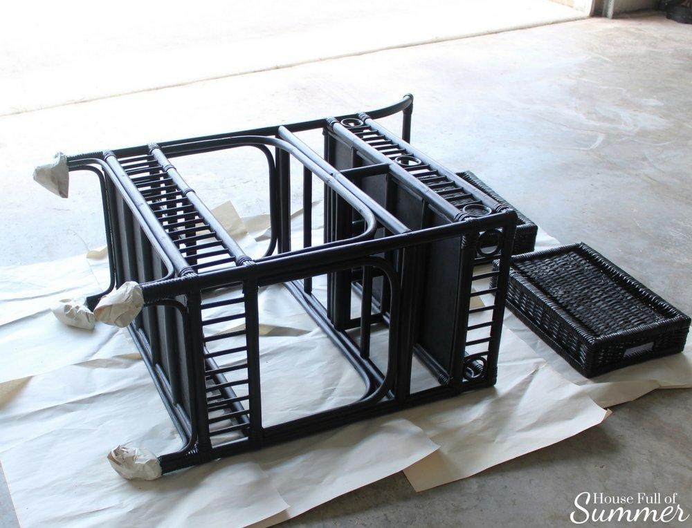 Bar Cart Makeover   House Full of Summer Blog - spray paint furniture makeover, before and after, bar cart styling, bar cart hack, DIY craft, home interior, coastal decor, bamboo rattan