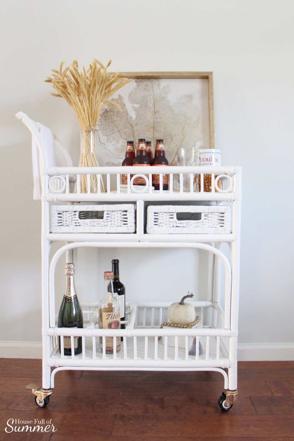 Bar Cart Styling - Warm Southern Harvest | House Full of Summer blog bar cart makeover, fall bar cart ideas, southern fall decor, simple fall decor, bar cart styling tips, thanksgiving bar cart,