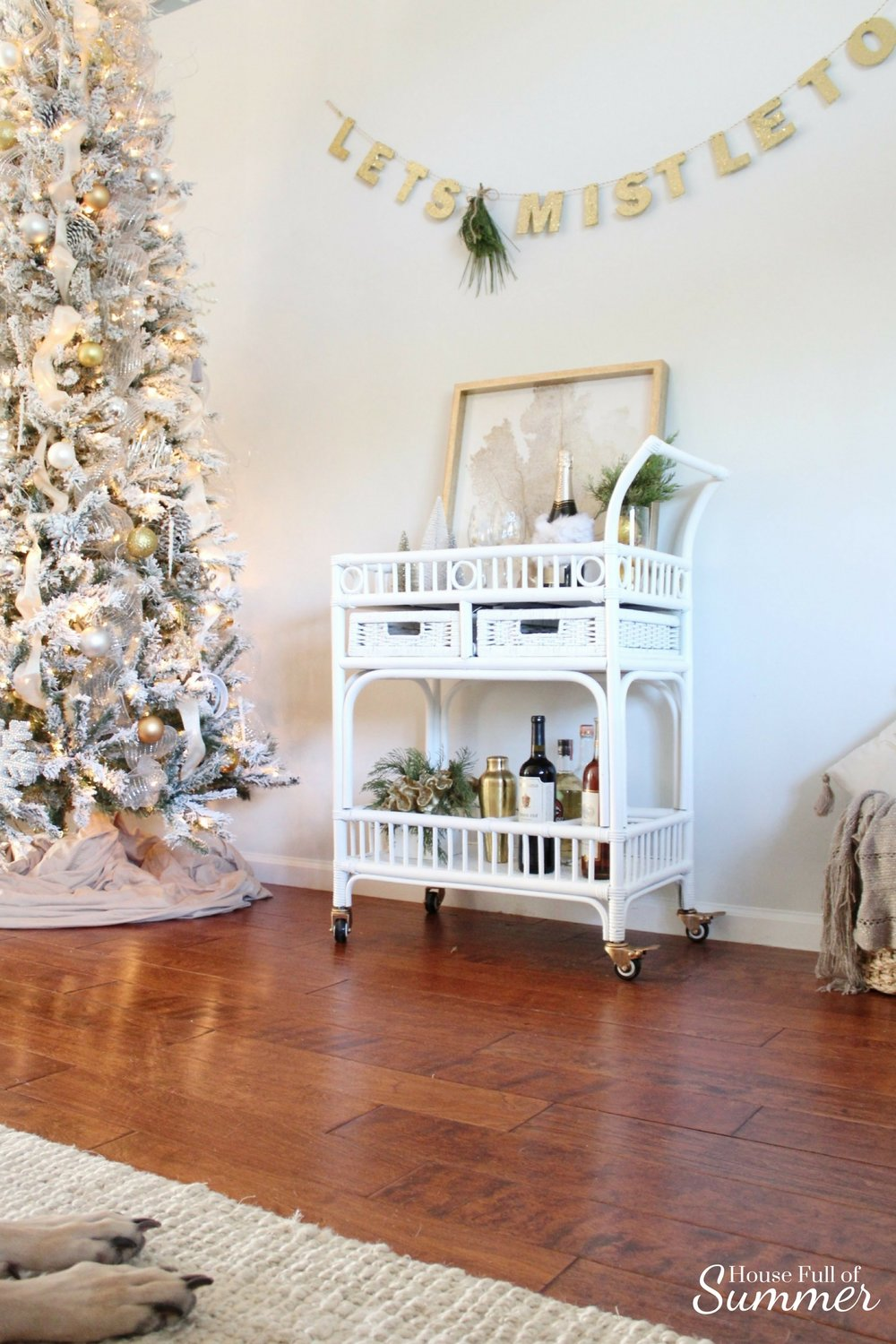 Christmas Home Tour | House Full of Summer blog hop - Cheerful Christmas Home Tourcoastal christmas neutral christmas decor, holiday home tour, florida christmas, bar cart, white bamboo rattan bar cart, lets mistletoe garland, diy pine swag