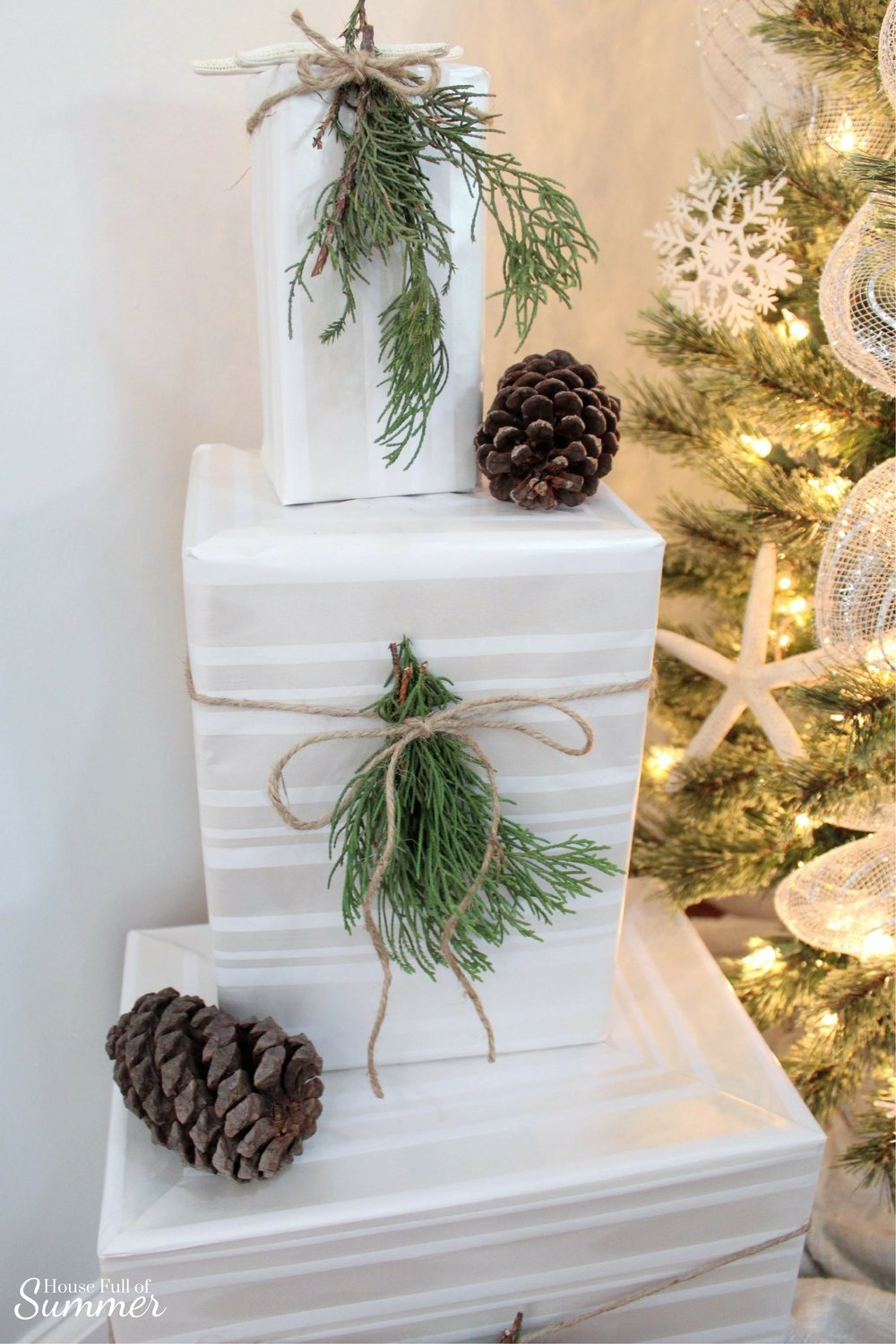 How To Make Fresh Pine Swags | House Full of Summer blog - diy christmas ideas, simple christmas decor, fresh greenery in christmas decor, holiday decor, coastal home christmas decor, classy decor, beachy christmas ideas, home interior, chair swag, pine swag, misteltoe, garland gift wrapping ideas