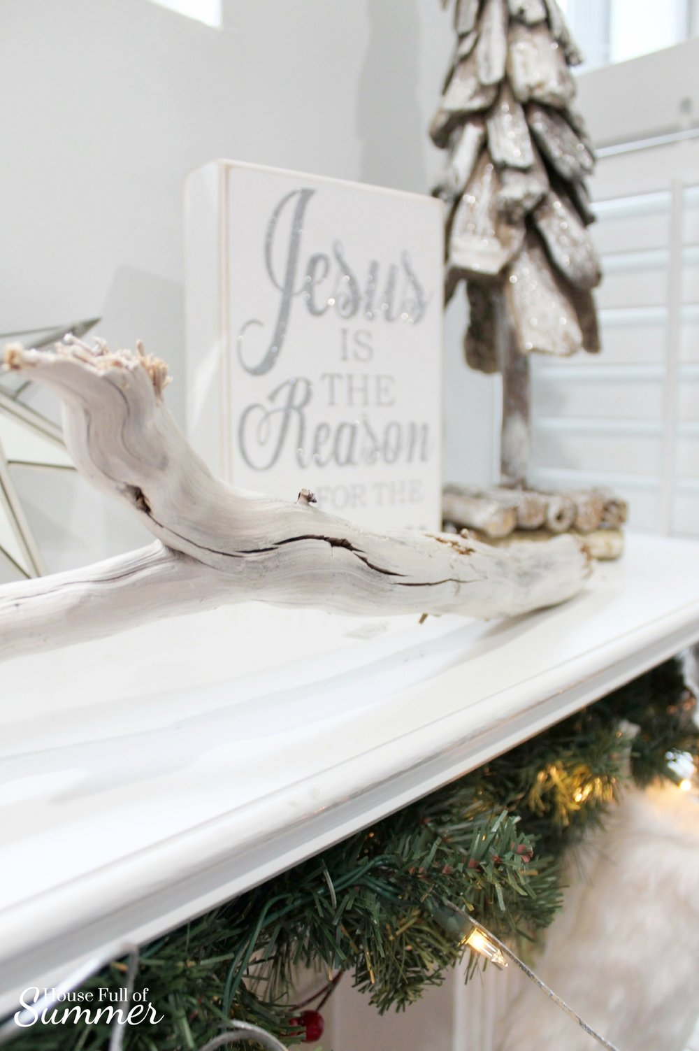 Classy Christmas Home Tour {Part Two} | House Full of Summer blog - mantel decor, christmas mantel ideas, coastal christmas mantel, silver and gold coastal decor, windows over mantel