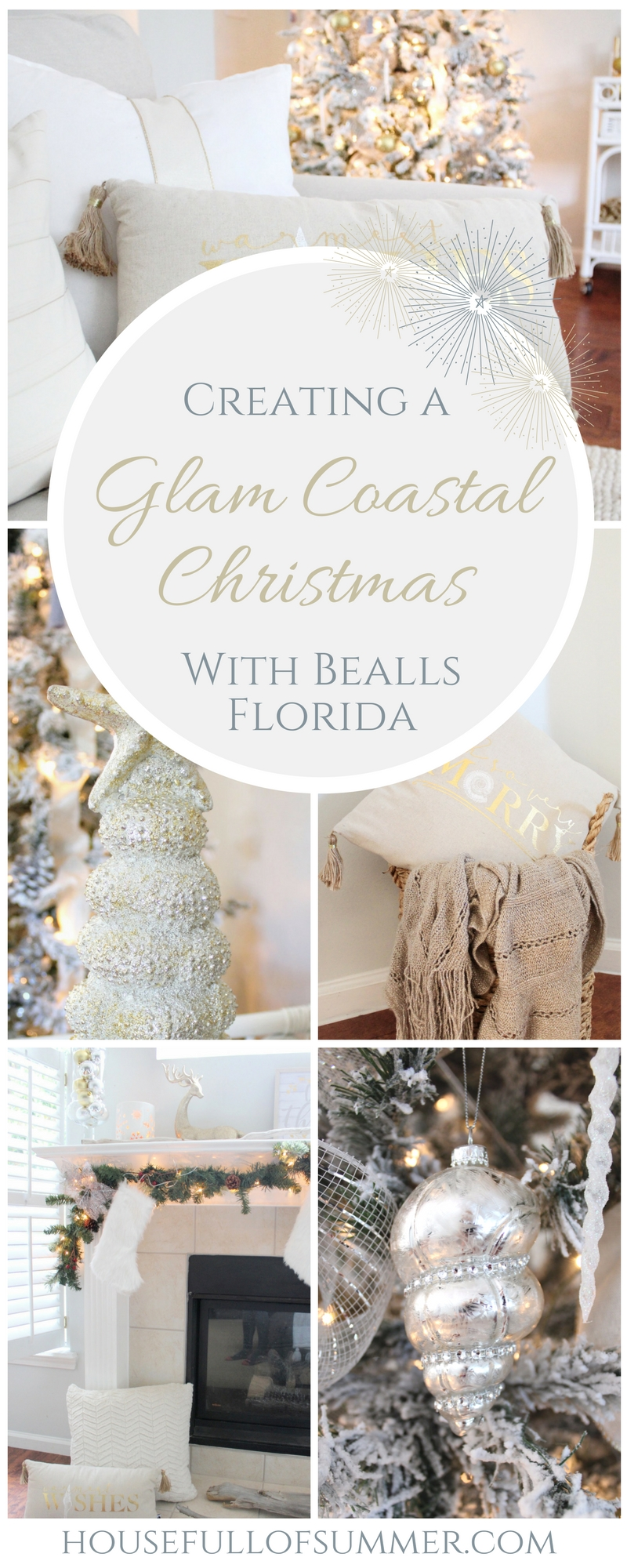 Creating a Glam Coastal Christmas with Bealls Florida | House Full of Summer blog - neutral christmas decor, gold coastal christmas throw pillow, tassel pillow, decorative pillow, florida christmas, beachy holiday decor, silver and gold, neutral interior ideas, beach house christmas