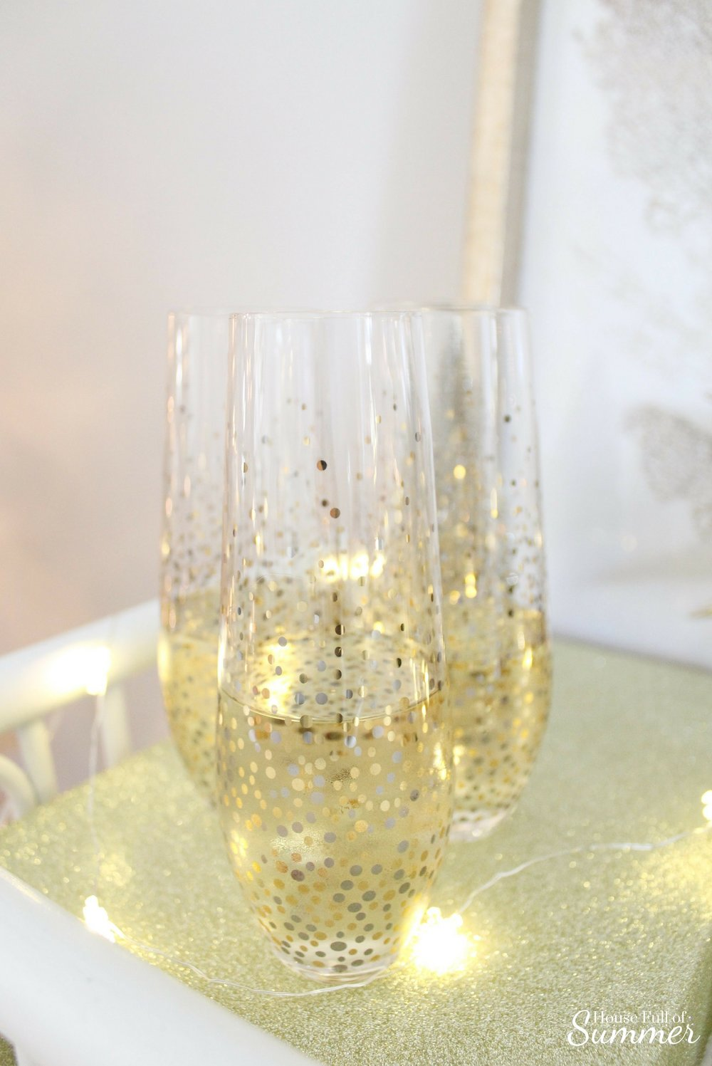 House Full of Summer | NYE Bar Cart Blog Hop - silver and gold new year's eve decor, ice bucket, champagne, coastal style, coastal NYE, holiday bar cart, fairy lights, string light ideas