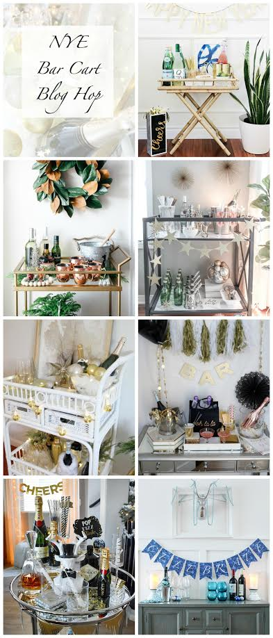 New Year's Eve Bar Cart Blog Hop - NYE decor, NYE bar cart styling, home tour, holiday decor, glam NYE, NYE ideas