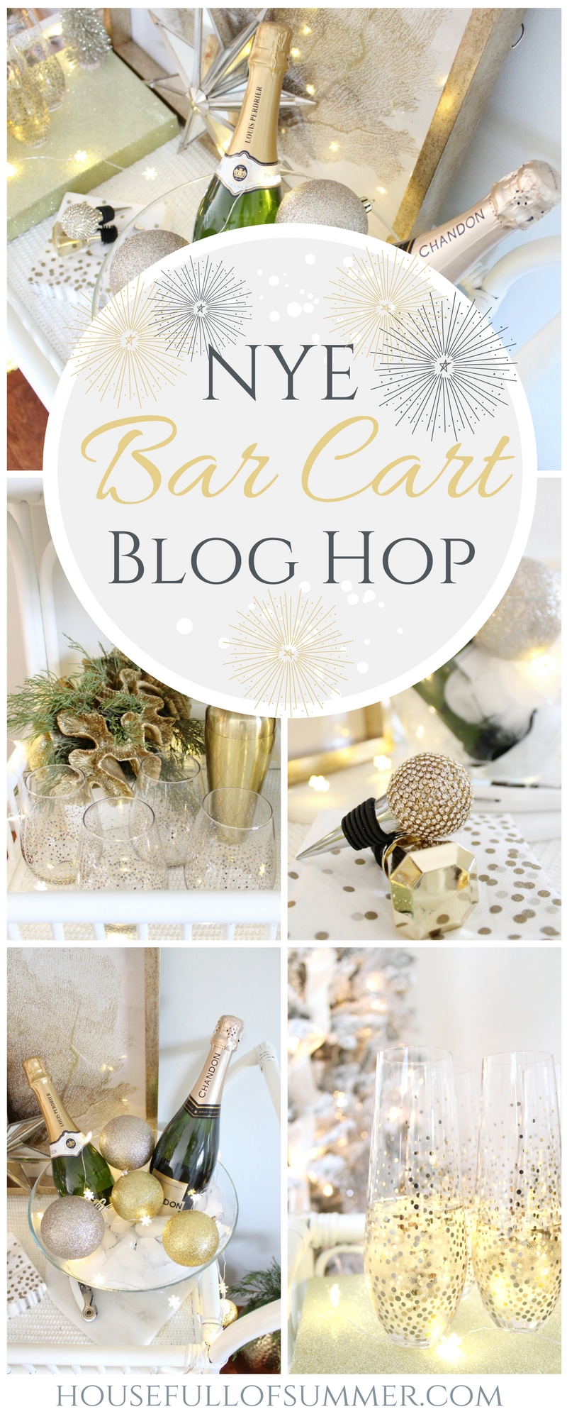 NYE Bar Cart Blog Hop | House Full of Summer blog - NYE decor with leftover Christmas decor, DIY, decor on a budget, New Year's Eve bar cart styling ideas, New Year's Eve Party entertaining, gold and silver NYE, champagne bar cart, glam decor, coastal living