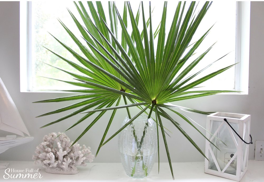 Add New Life to Your Home With This New Year's Resolution | House Full of Summer blog adding greenery to your home, decorating with plants, fronds, trimmings, winter decor, home decor, coastal home ideas, tropical mantel ideas, saw palmetto fronds in decor