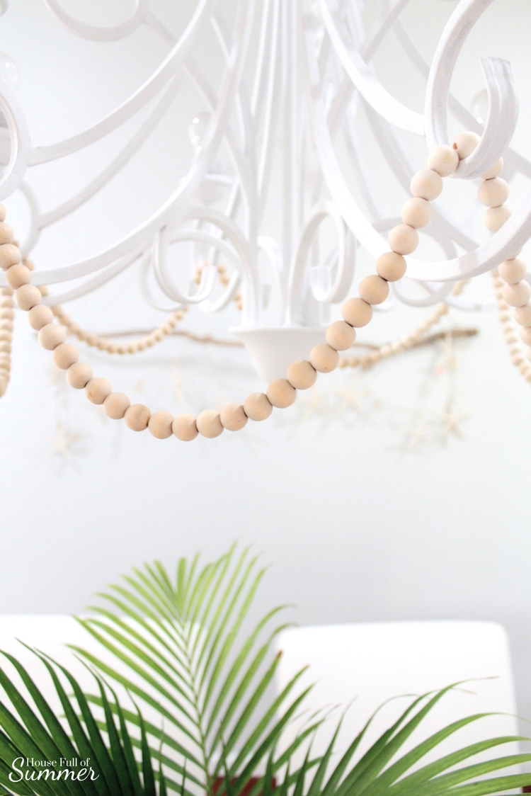 Easy DIY Beachy Boho Driftwood Wall Hanging | House Full of Summer blog - coastal dining room ideas, coastal crafts, coastal diy, white slipcovered dining chairs, trestle table, white chandelier, boho chic, beachy boho decor, wall decor, decorating on a budget, unique wall decor ideas