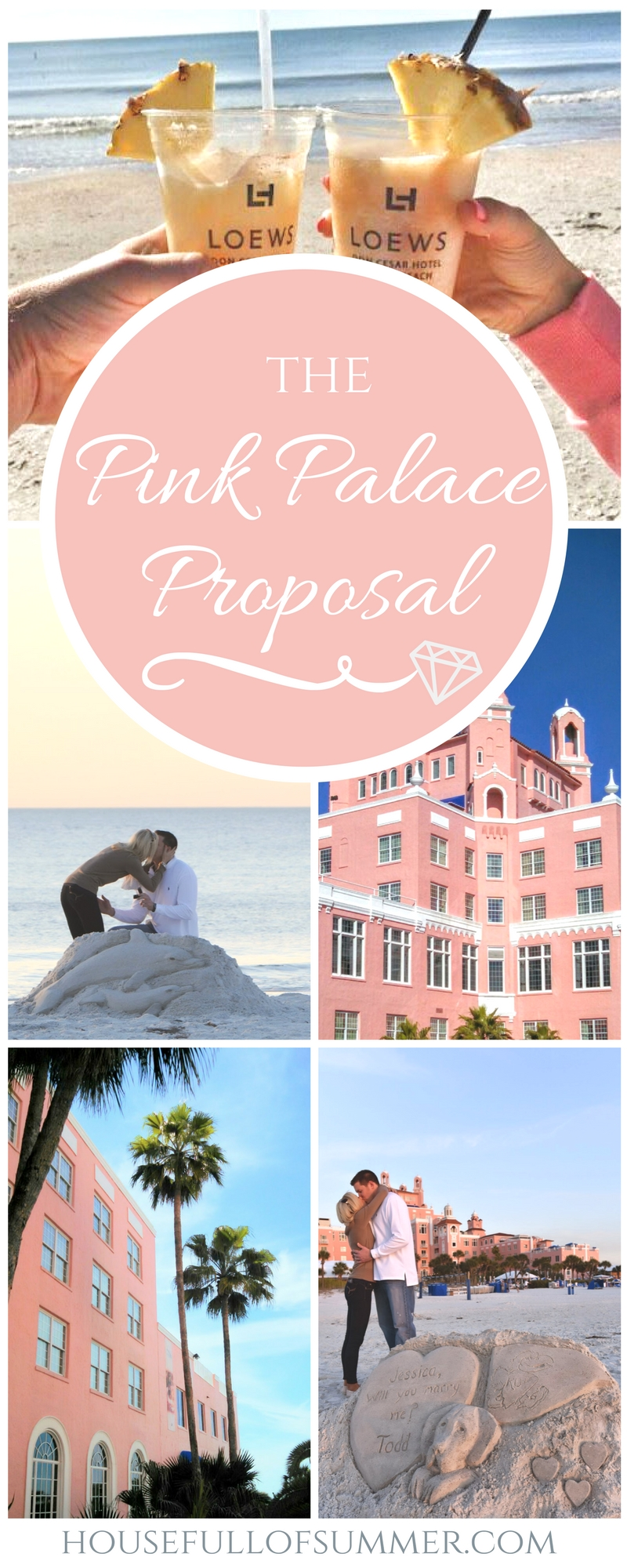 The Pink Palace Proposal | House Full of Summer - A romantic sunset beach proposal at the Don CeSar on St. Pete Beach, Florida,  sand sculpture proposal, beach engagement, sunset proposal on the beach, secret photographer, how he asked, best wedding proposal, creative proposal idea