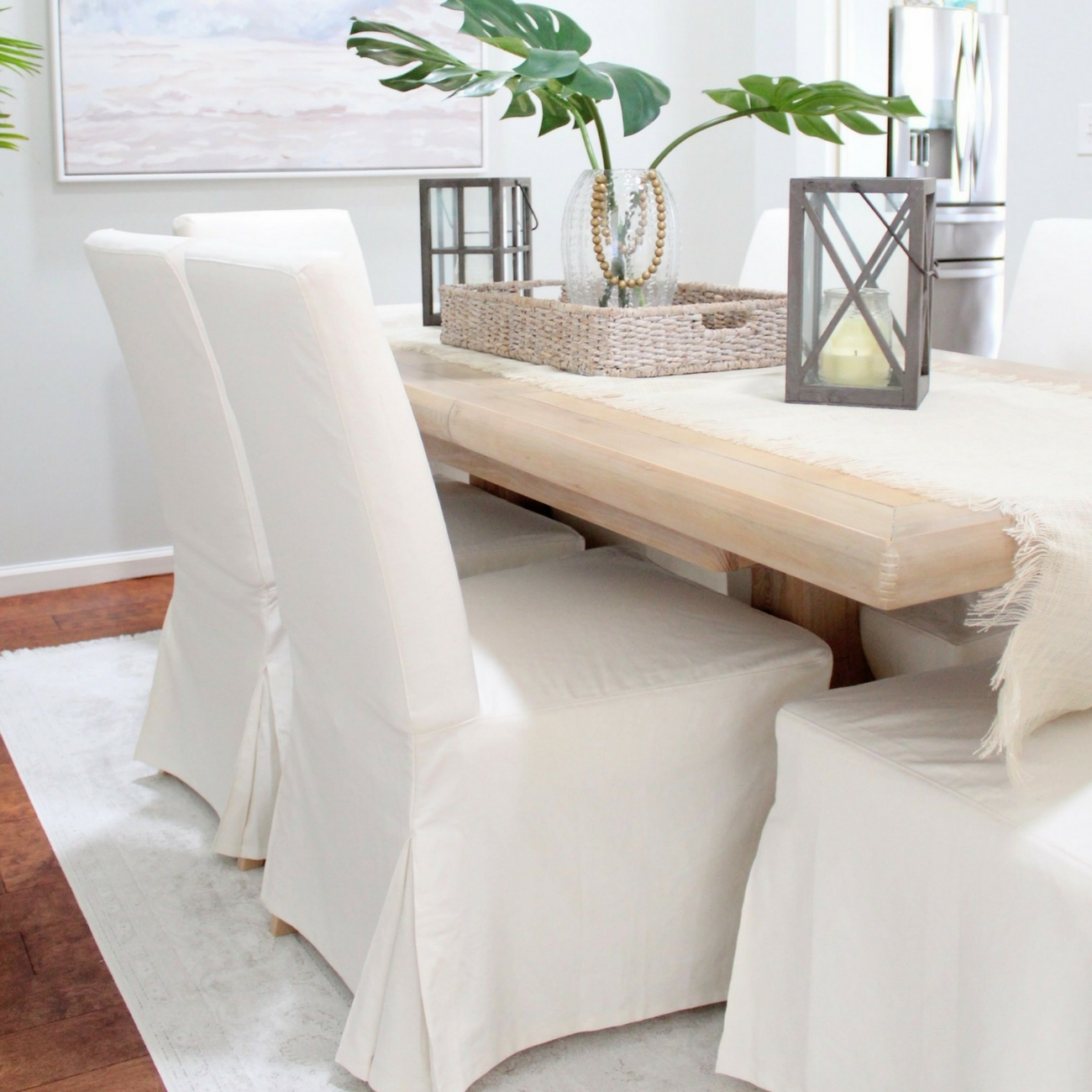 Why I Love My White Slipcovered Dining Chairs