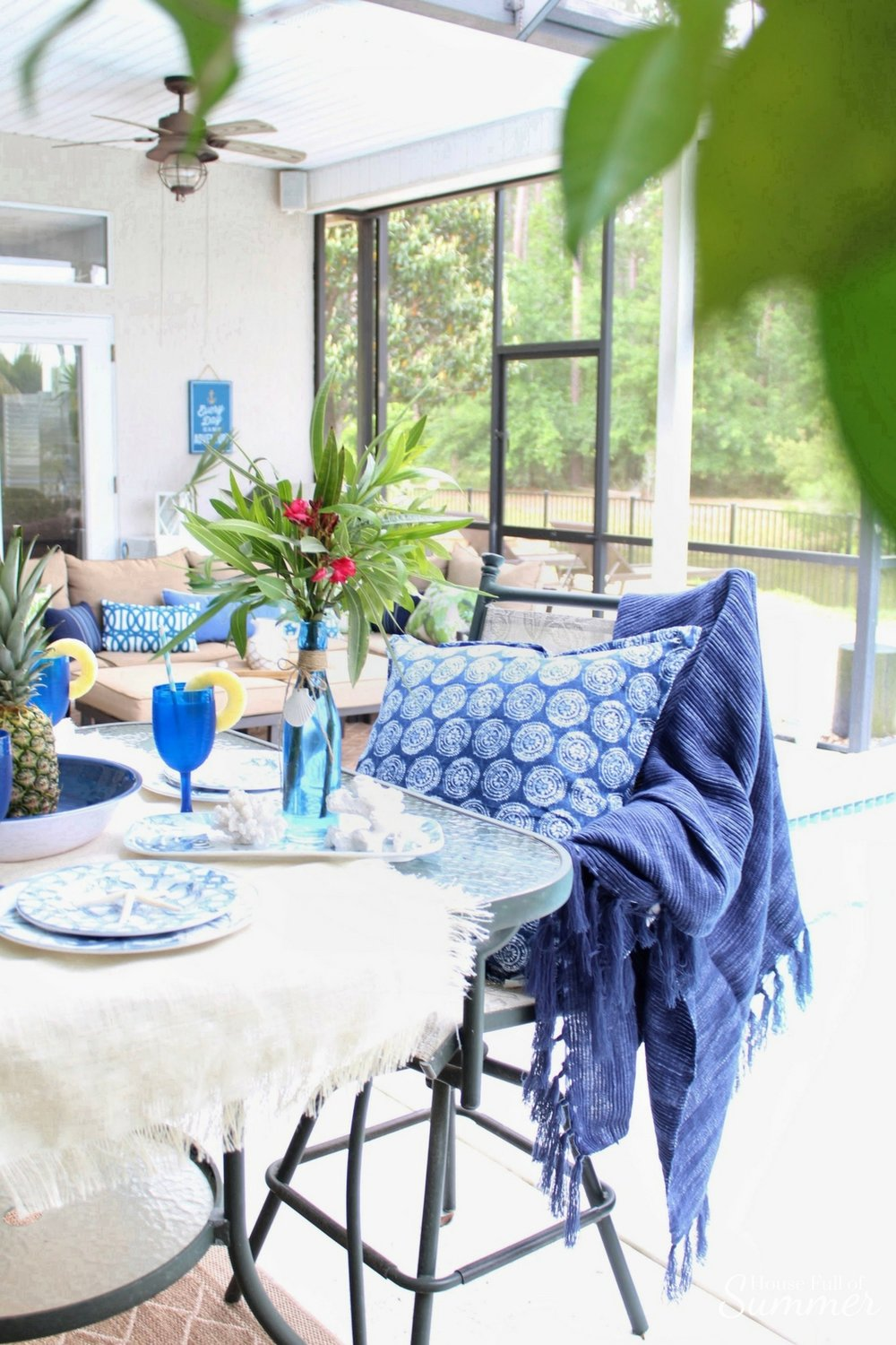 Blue palms pineapples outdoor tablescape house full of summer partnership with christmas tree shops